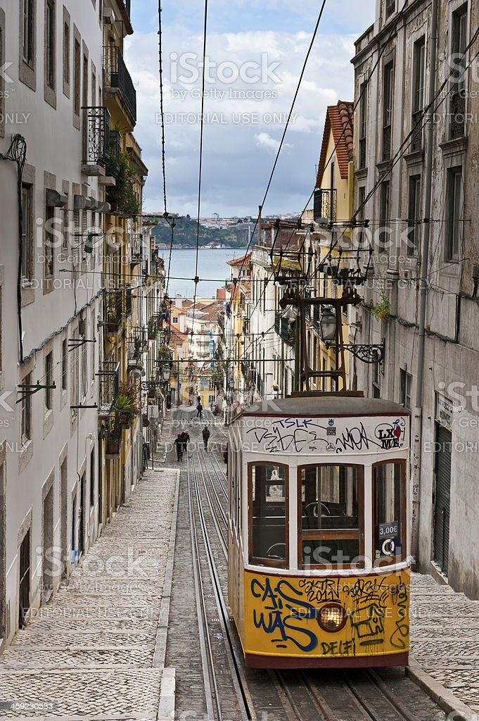Lisbon tram cobbled street in Barrio Alto Portugal royalty-free stock photo