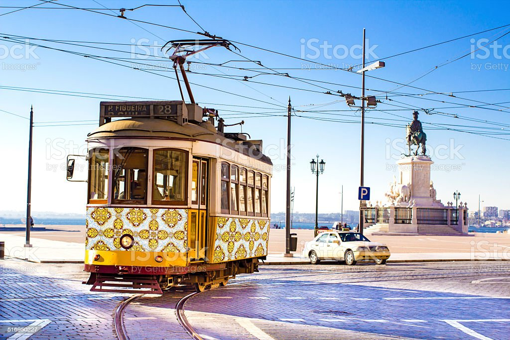 Lisbon trams stock photo