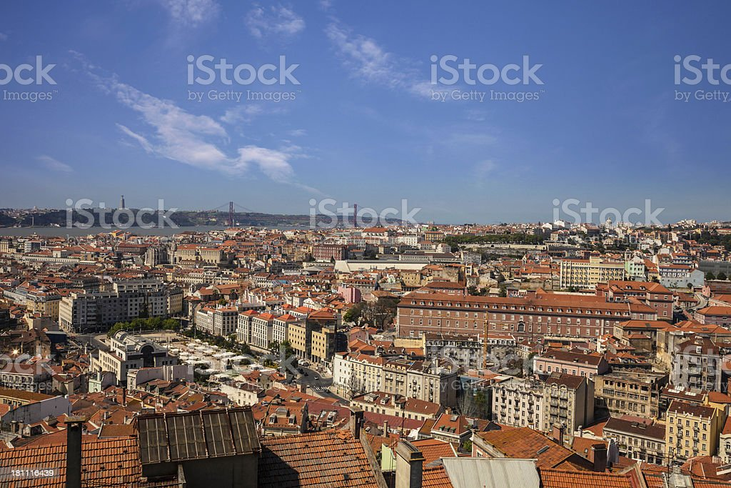 Lisbon view from the top at dawn royalty-free stock photo