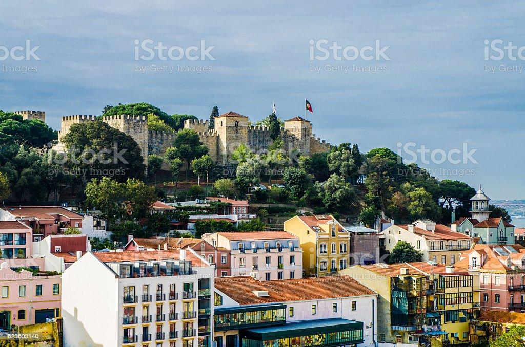 Lisbon viewed from Miradouro Sophia de Mello Breyner Andresen stock photo