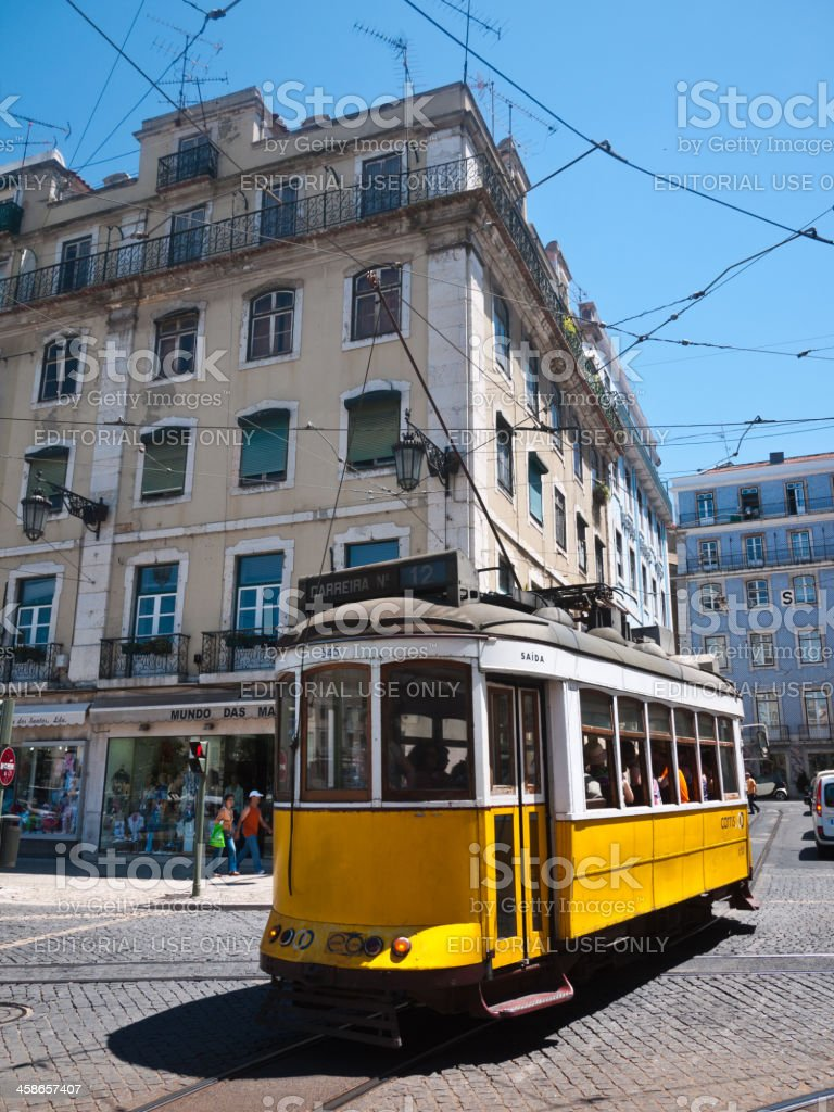 Lisbon Yellow Tram Number 12 , Portugal royalty-free stock photo