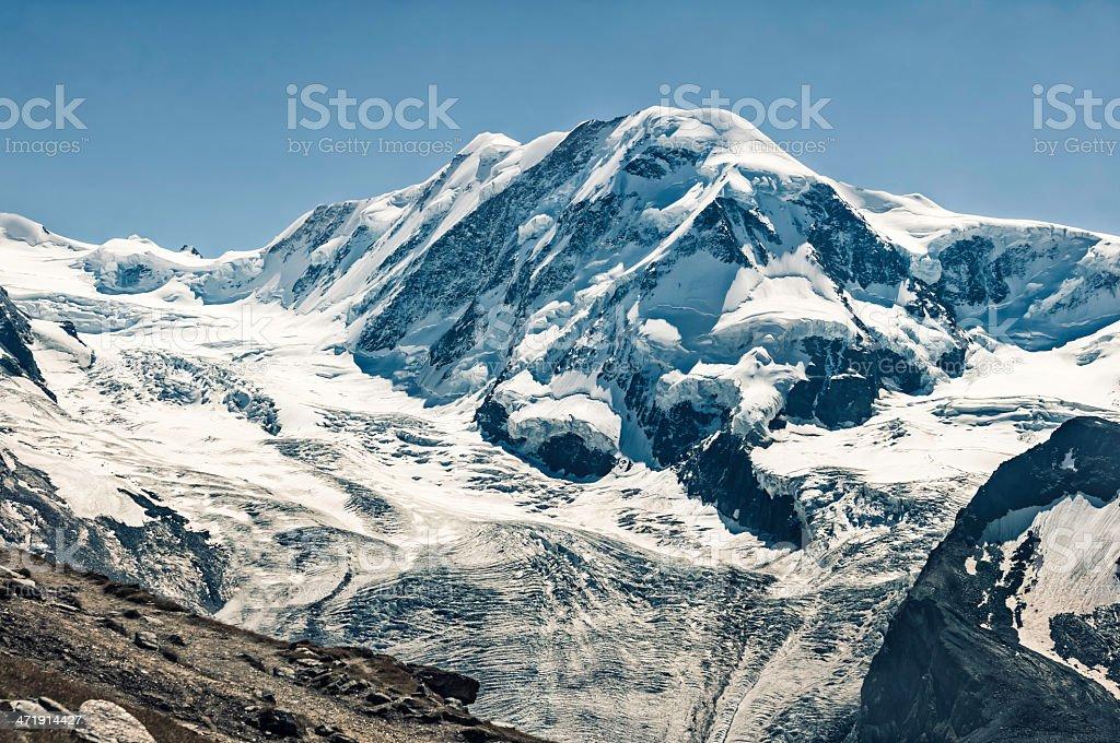 Liskamm (Lyskamm) 4527m mountain peak in Pennine Alps - XXIII royalty-free stock photo