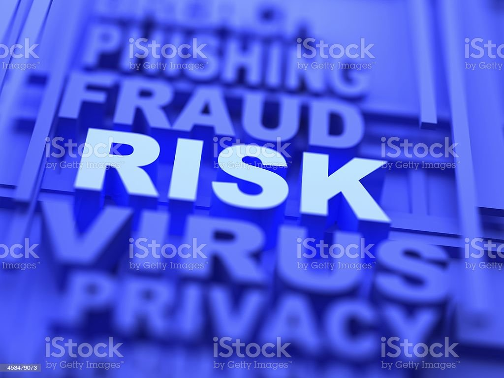 A list in purple of types of identity theft risk stock photo