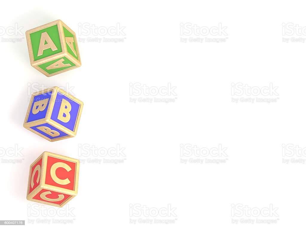 ABC list. Letter blocks A, B and C isolated stock photo