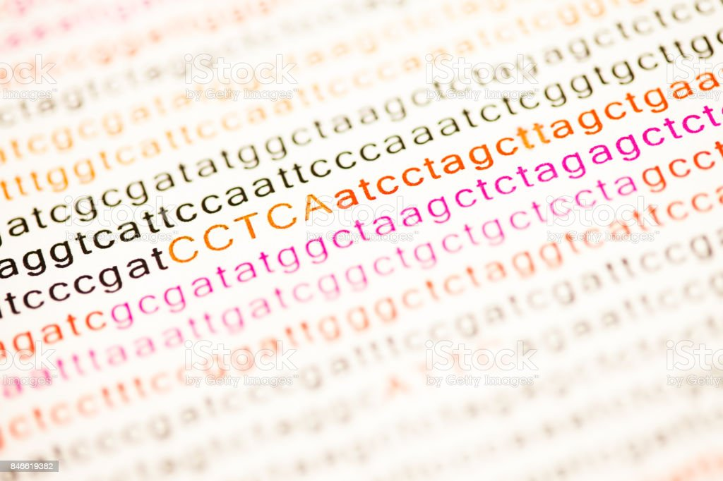 List of dna analysis letters stock photo