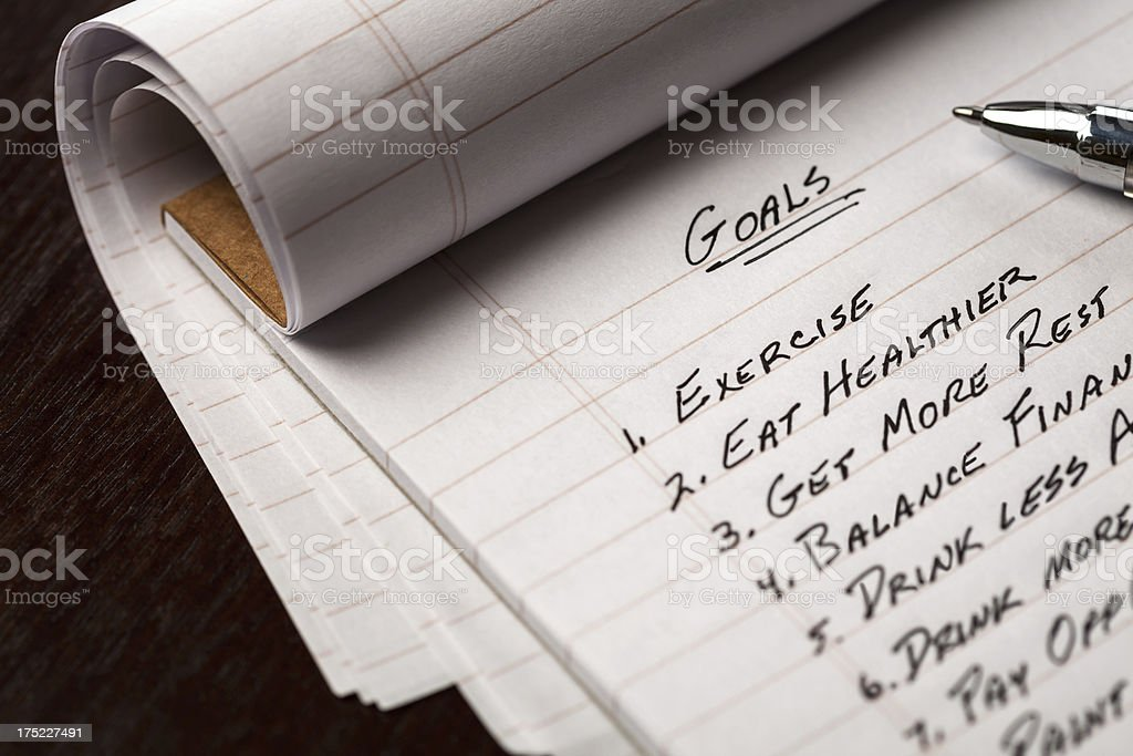 List Of Goals royalty-free stock photo