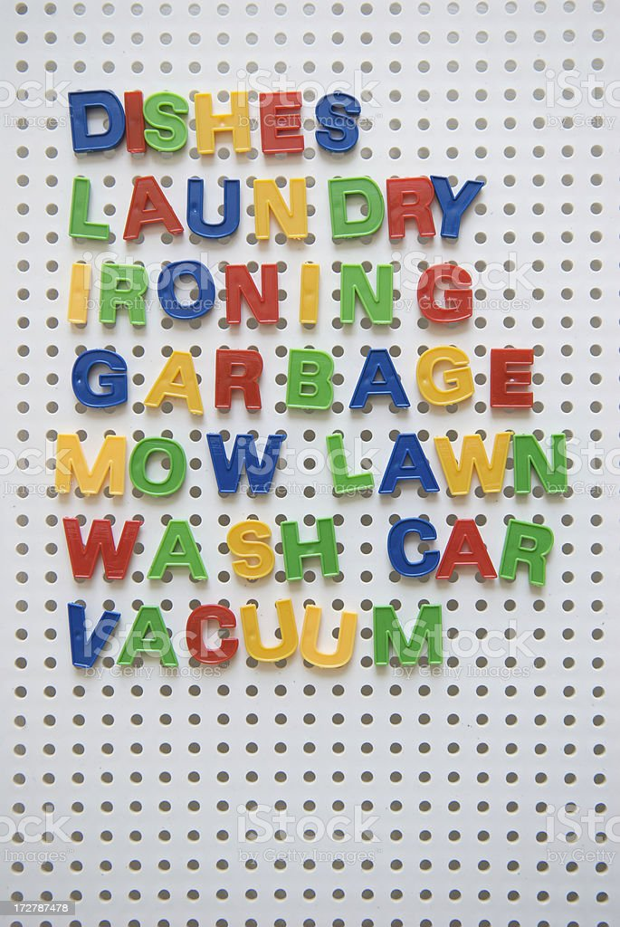 List of Household Chores in Colorful Letters royalty-free stock photo