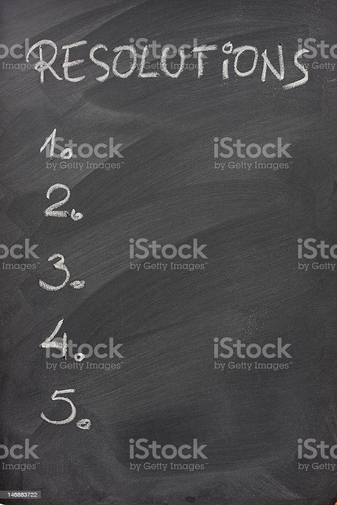 list of resolutions on a blackboard royalty-free stock photo