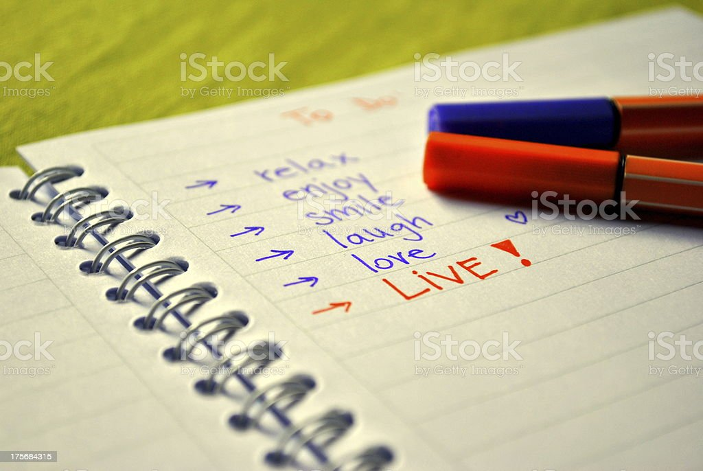 List of things TO DO royalty-free stock photo