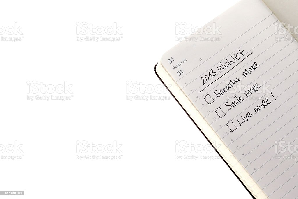 list of wishes for 2013 royalty-free stock photo