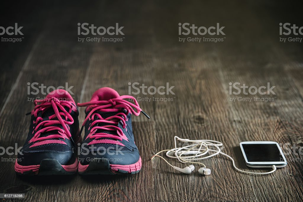 listen music with fitness running sports equipment, sneakers stock photo