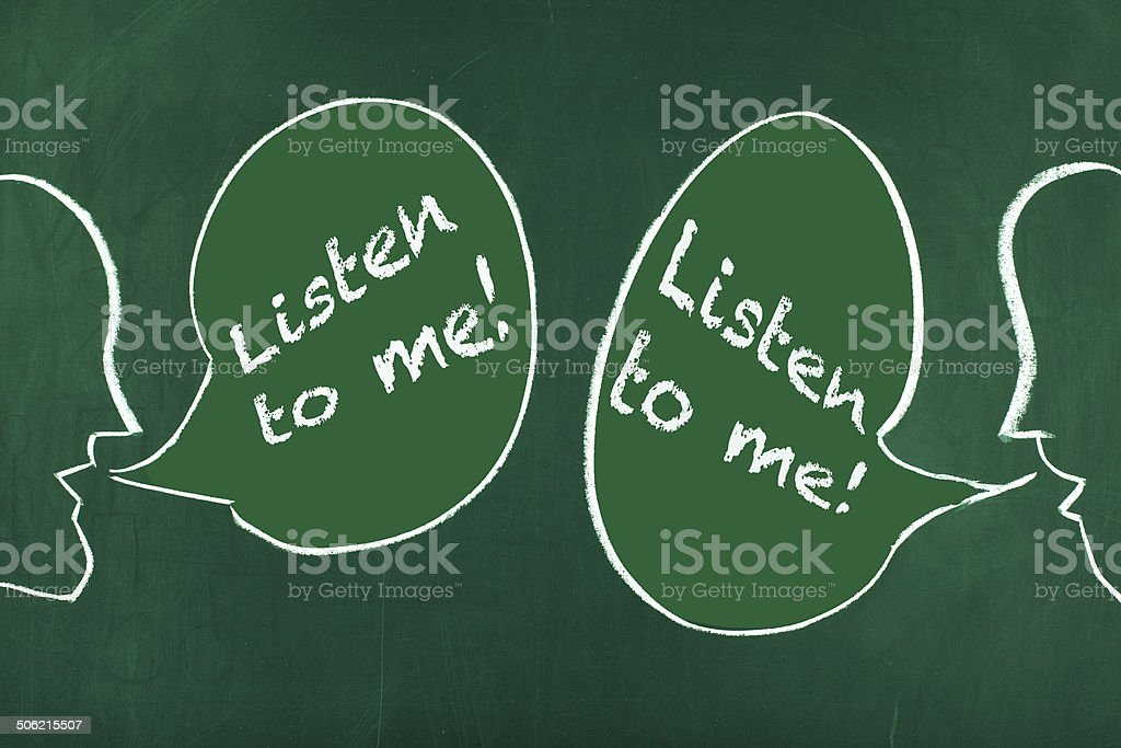 Listen to me stock photo