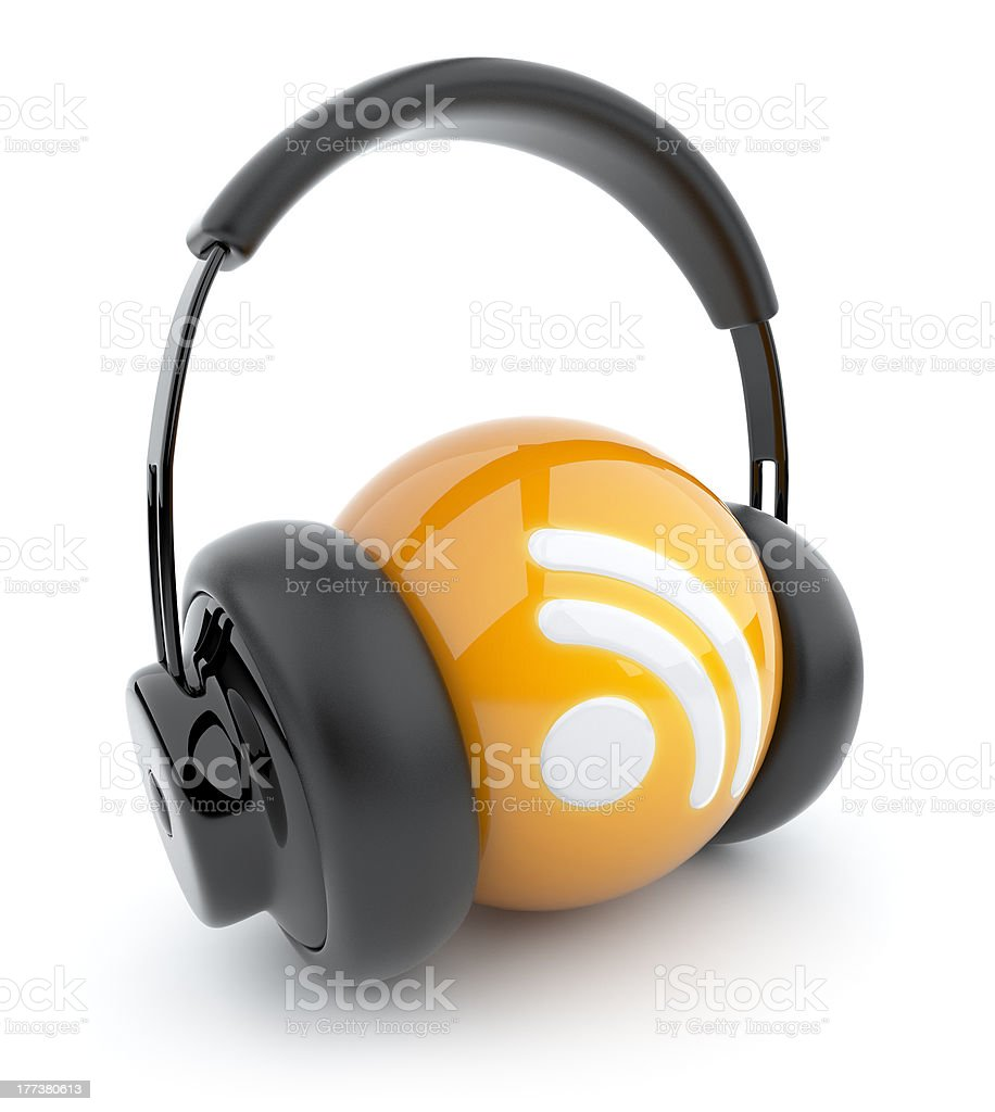 RSS listening. 3D Icon isolated stock photo