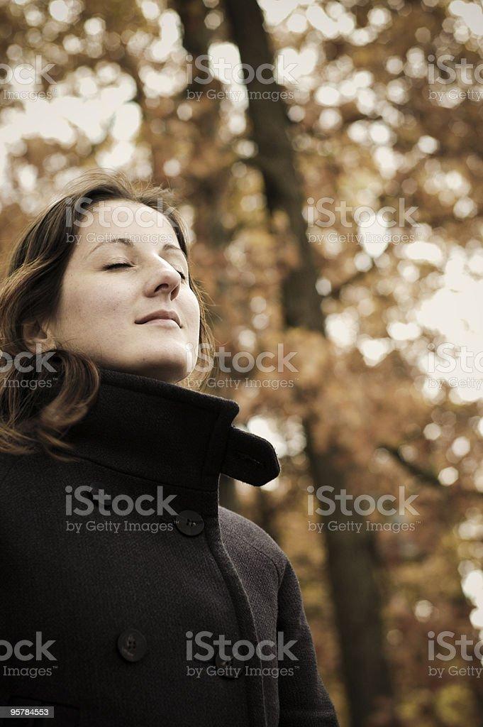 listening autumn leafs royalty-free stock photo