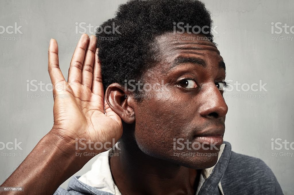 listening black man. stock photo