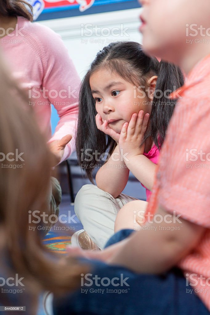 Listening During Storytime stock photo