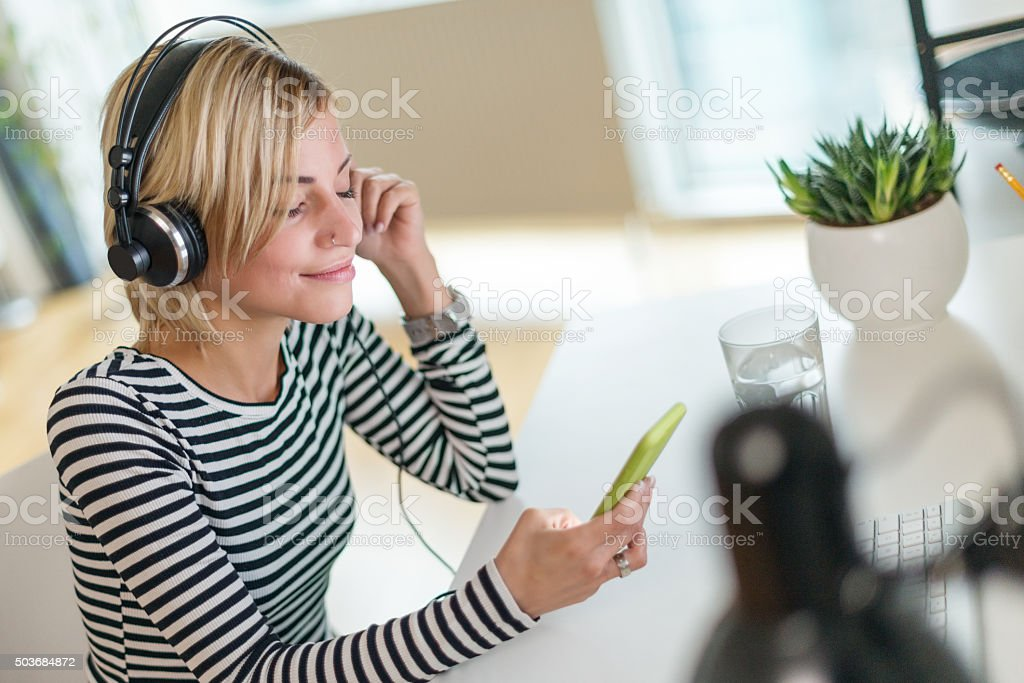 Listening favorite song stock photo