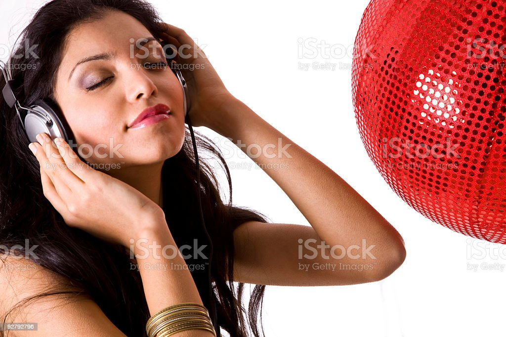 Listening music in the Disco stock photo