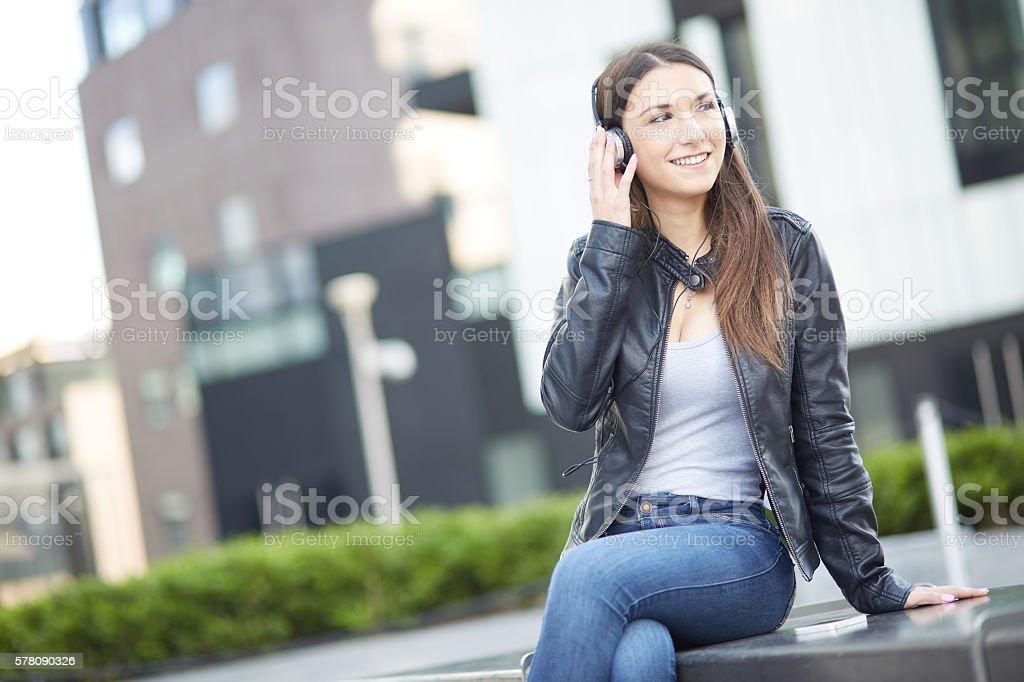 listening music stock photo