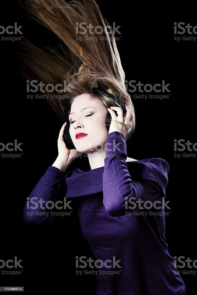 Listening music with Headphones royalty-free stock photo