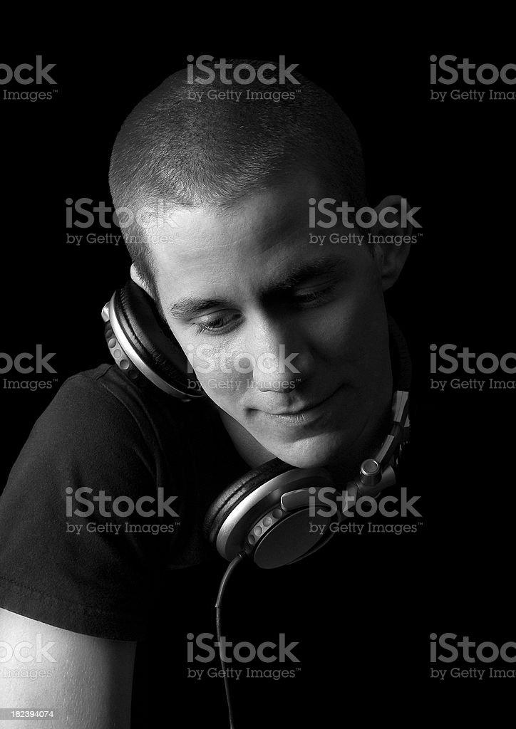 DJ listening stock photo