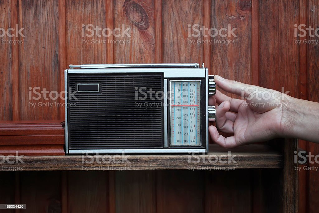 Listening Radio stock photo