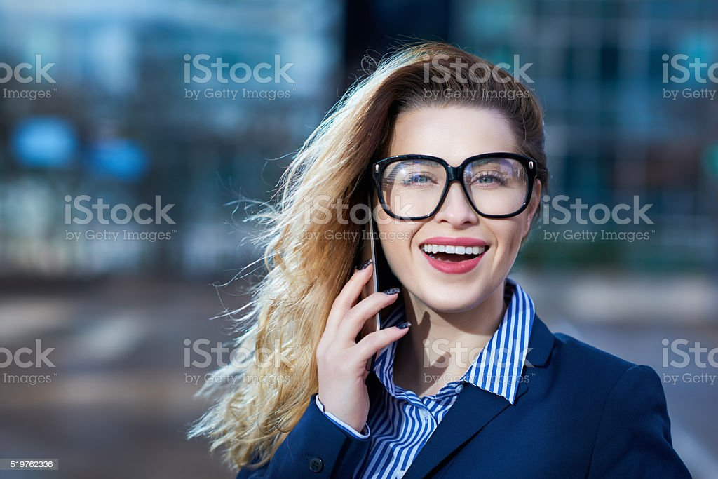 listening some great news for my business stock photo