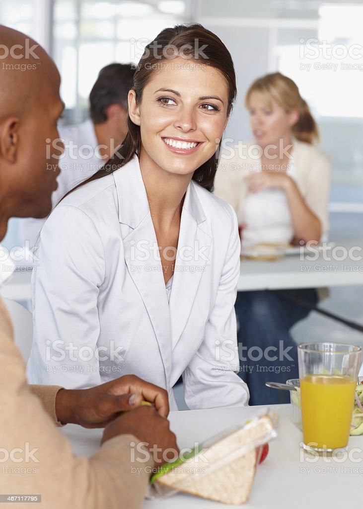 Listening to a colleague royalty-free stock photo