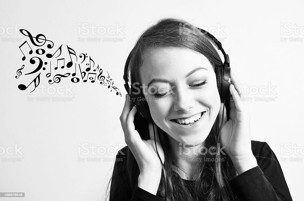 Listening to a music stock photo