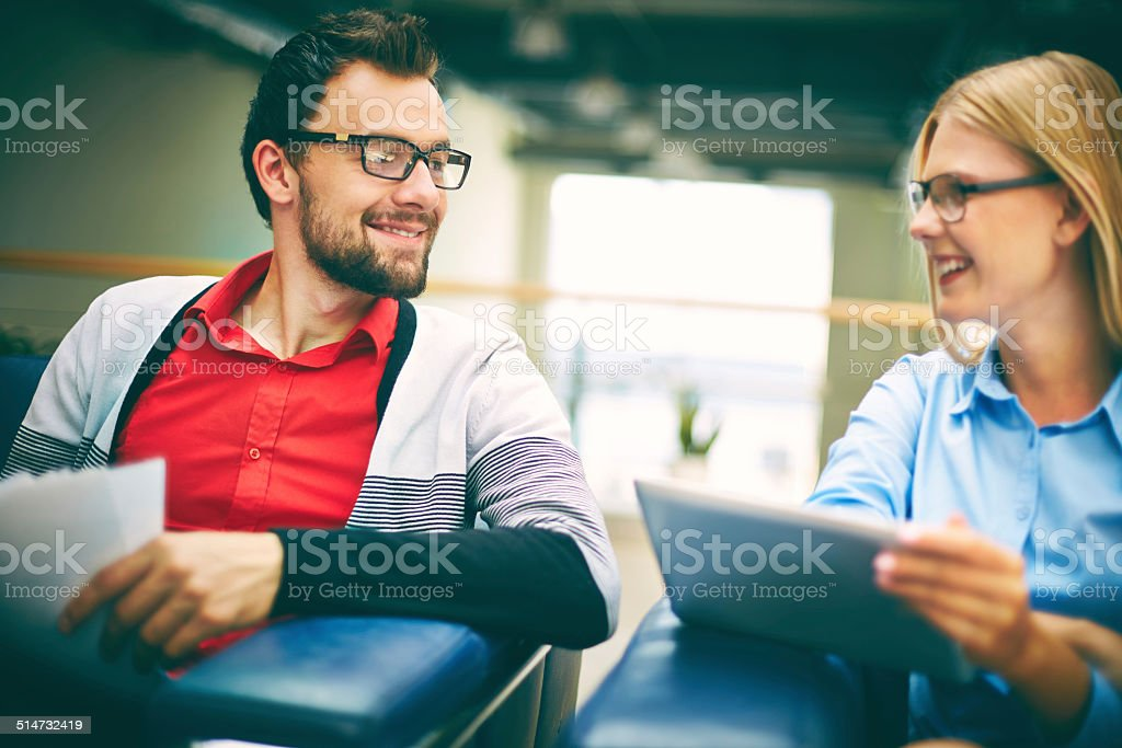 Listening to colleague stock photo