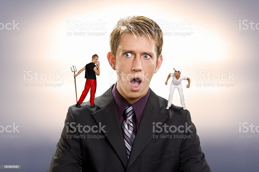 Listening to Evil royalty-free stock photo