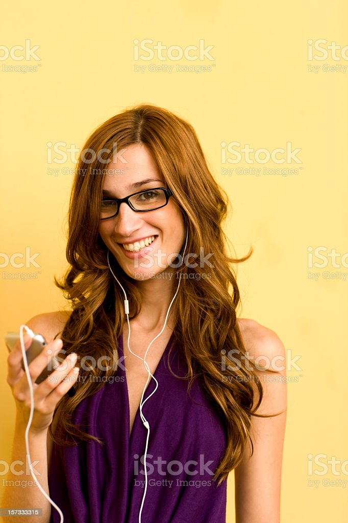 Listening to MP3 player royalty-free stock photo