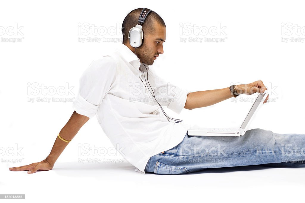 Listening to MP3 tracks stock photo