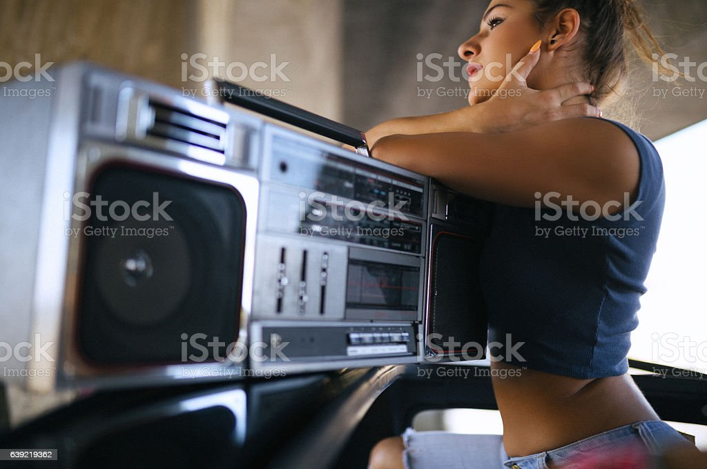 Listening to music... stock photo