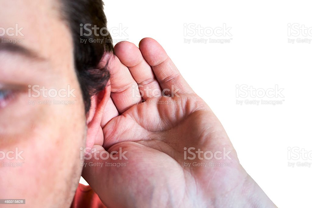 listening to others talk stock photo