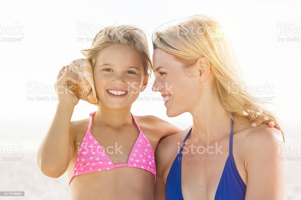 Listening to sea stock photo