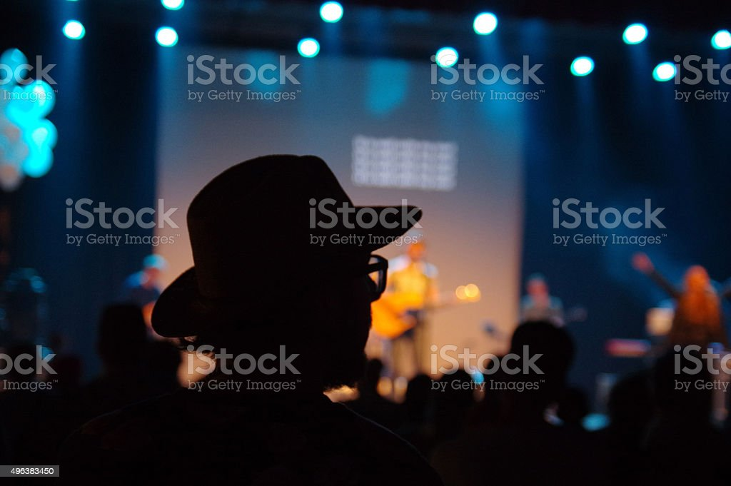 Listening to the concert stock photo