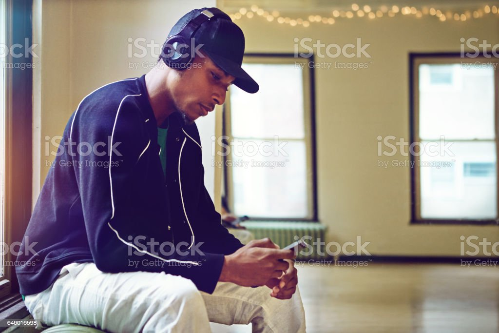 Listening to the dopest beats stock photo