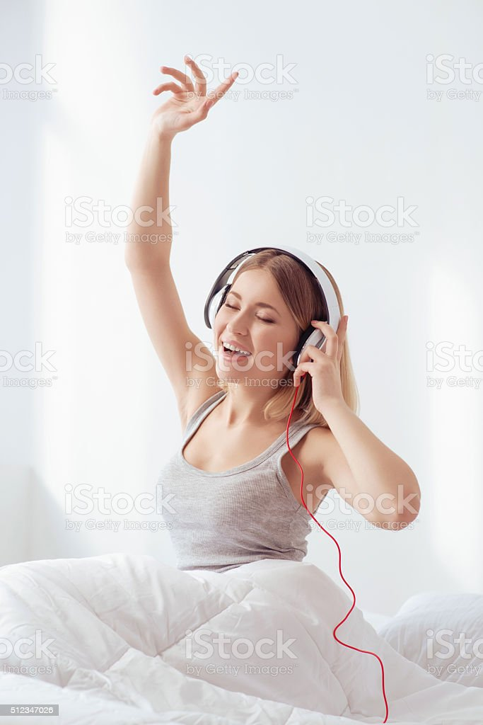 Listening to the good music all day long stock photo