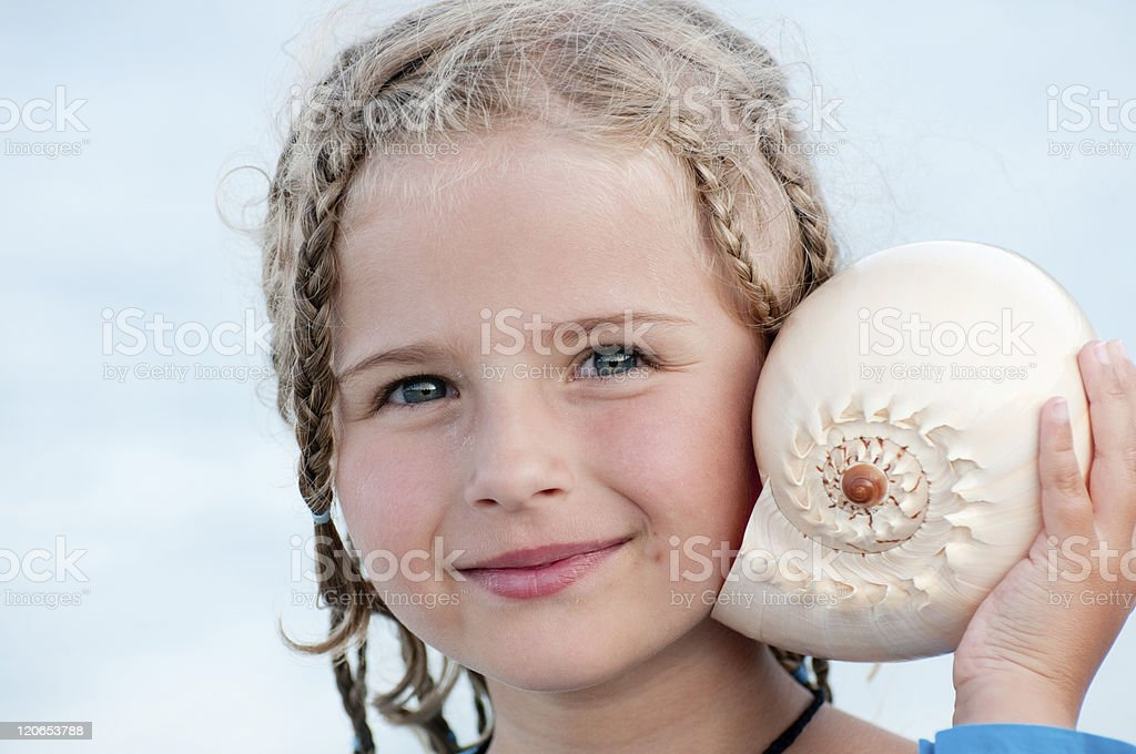 Listening to the sea royalty-free stock photo