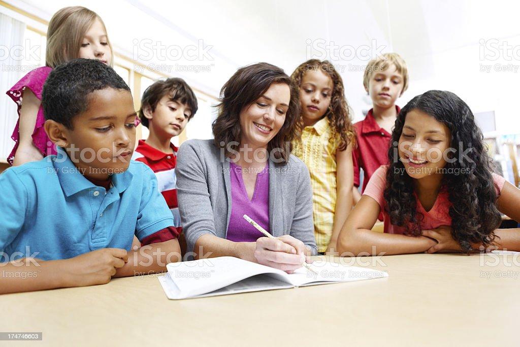 Listening to the teacher! royalty-free stock photo