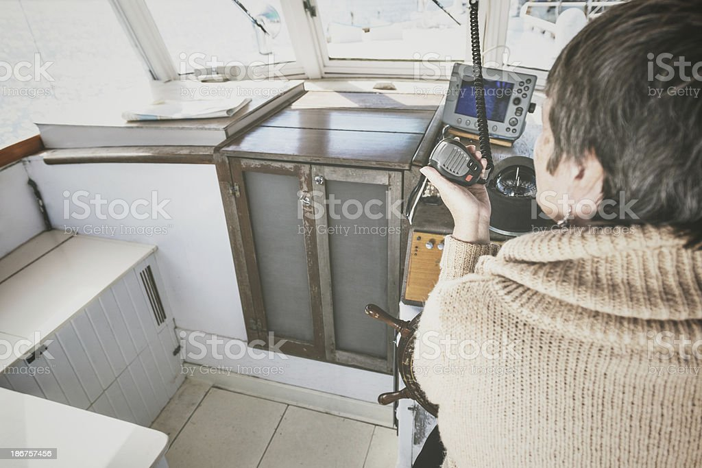 Listening to the VHF royalty-free stock photo