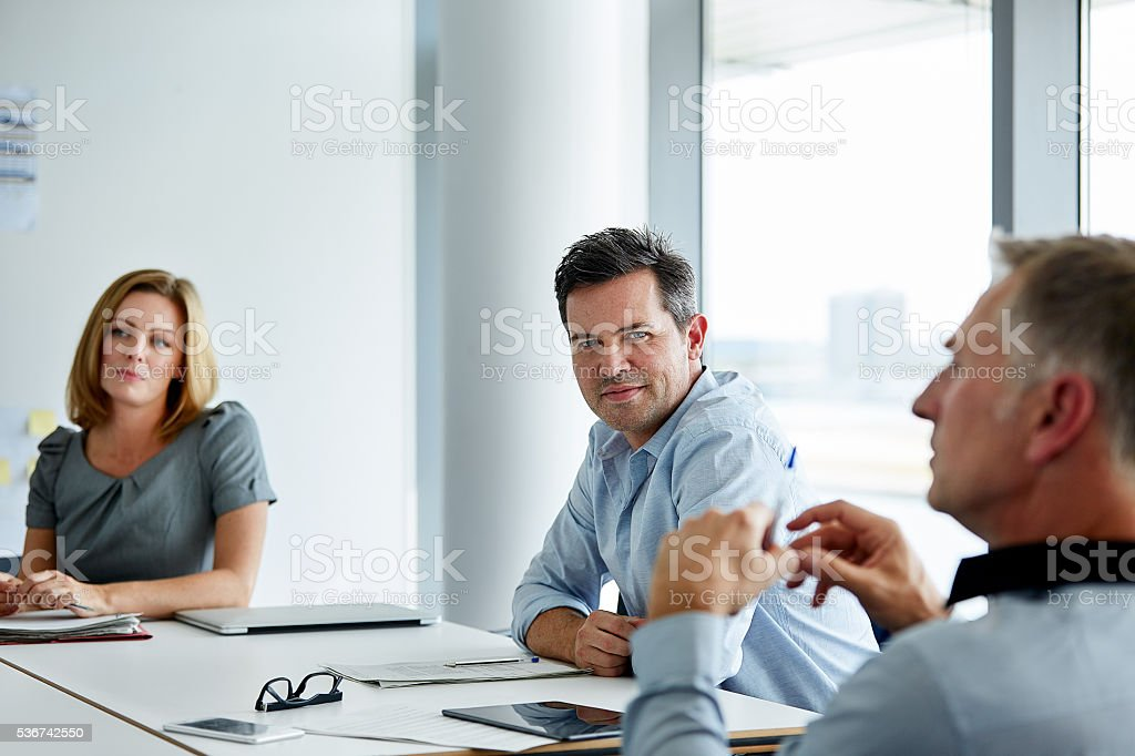 Listening to their manager's advice stock photo