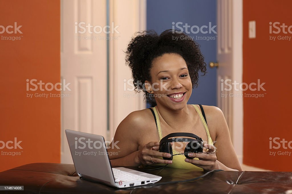 Listening to web tunes royalty-free stock photo