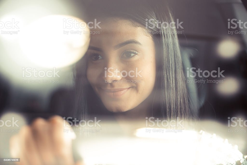 listenning a nice song in car stock photo