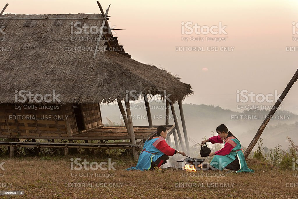 Lisu Hill Tribe Girls stock photo