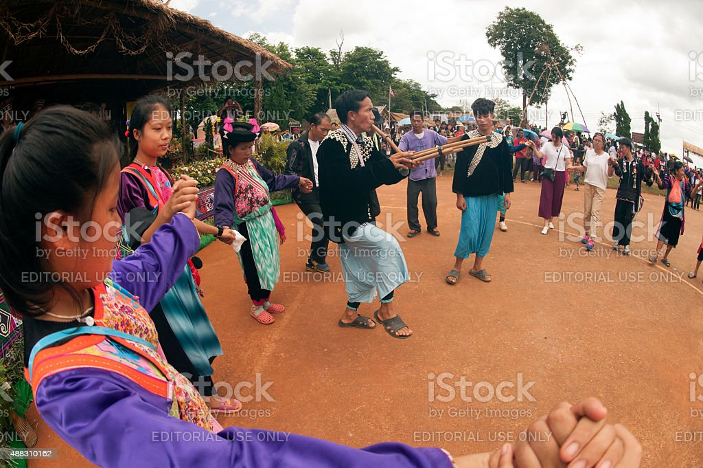 Lisu hill tribe traditional dancing in Thailand. stock photo