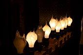 Lit and Unlit Light Bulbs