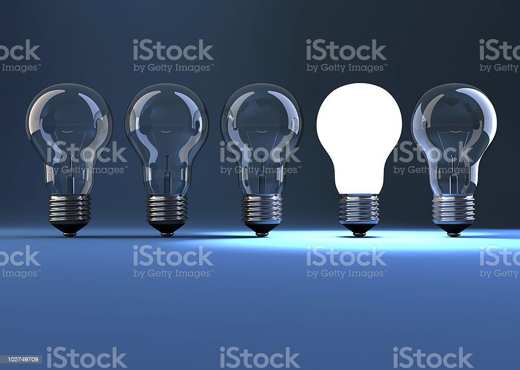 Lit bulb stock photo
