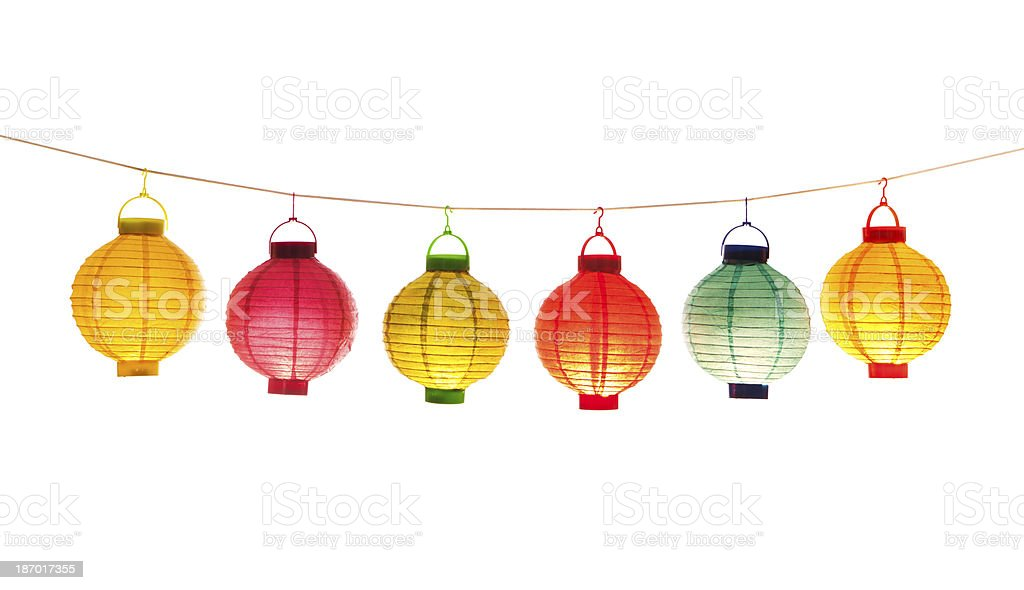 Lit Chinese Lanterns on White Background stock photo